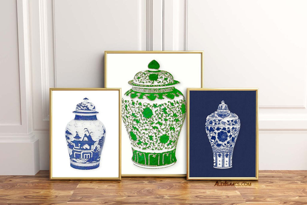 Two blue and white ginger jar prints and one green ginger jar print by Alex Isaacs