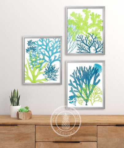 Blue and Green Sea Coral Prints, Set of 3