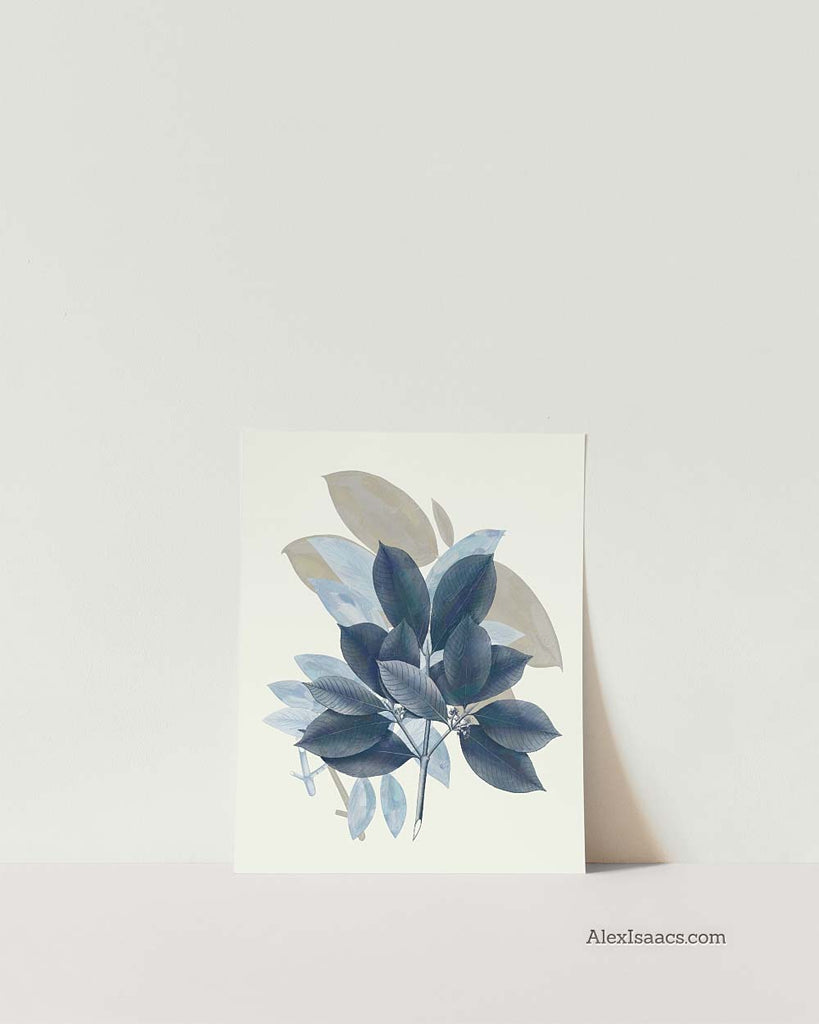 Blue Leaves Wall Art, Set of 4-Prints-Alex Isaacs Designs
