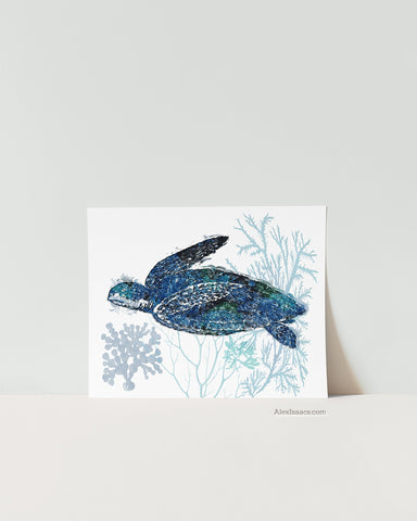 Blue Sea Turtle Art Print-Alex Isaacs Designs