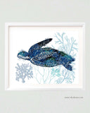 Blue Sea Turtle Illustration