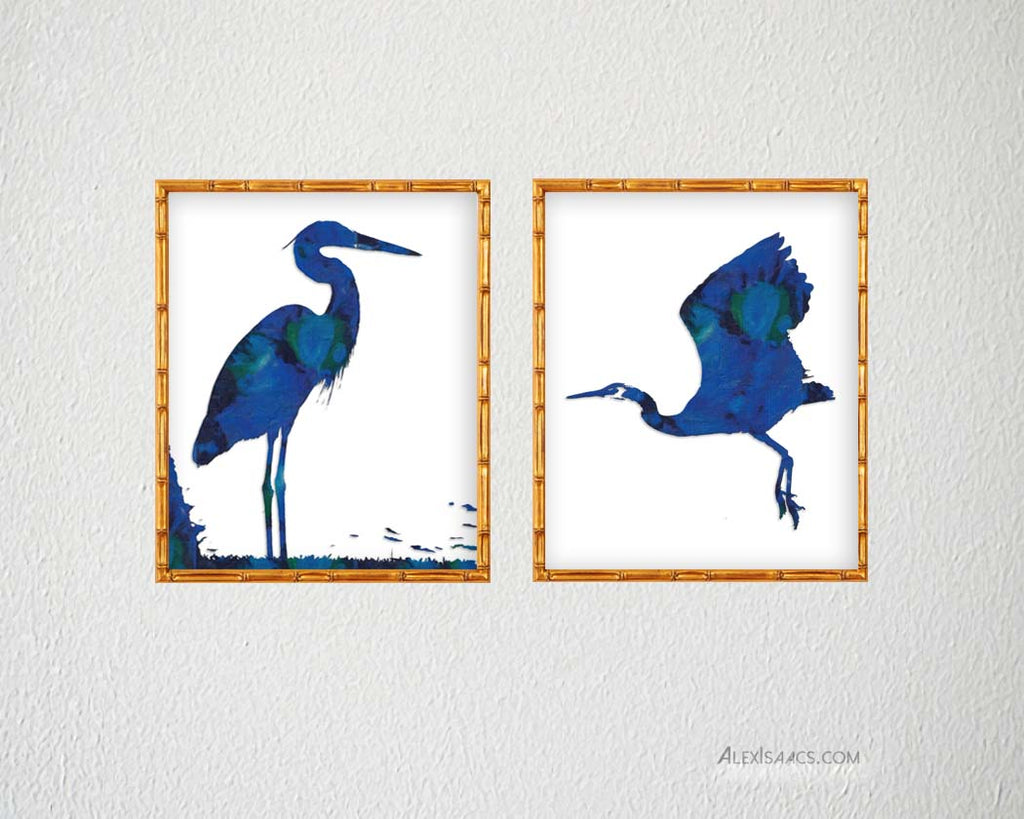 Blue Heron Wall Art, Set of 2-Alex Isaacs Designs
