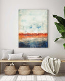 Blue Abstract Landscape with Fall Foliage
