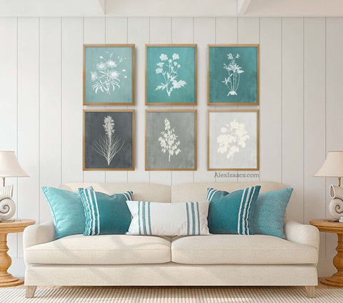 Teal and Gray Farmhouse Botanical Prints, Set of 6 Prints