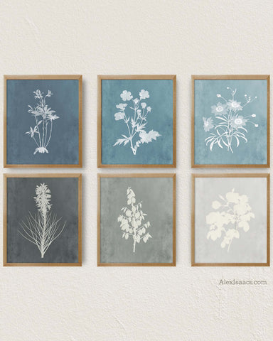 blue and gray farmhouse prints