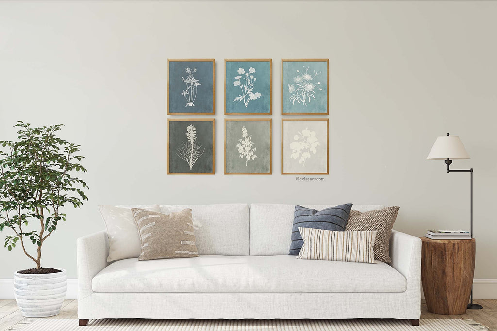 blue and gray farmhouse living room art