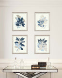 Blue Leaf Wall Art, Set of 4 Prints