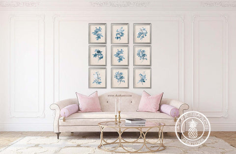 Set of 9 cream and blue botanical prints by Alex Isaacs