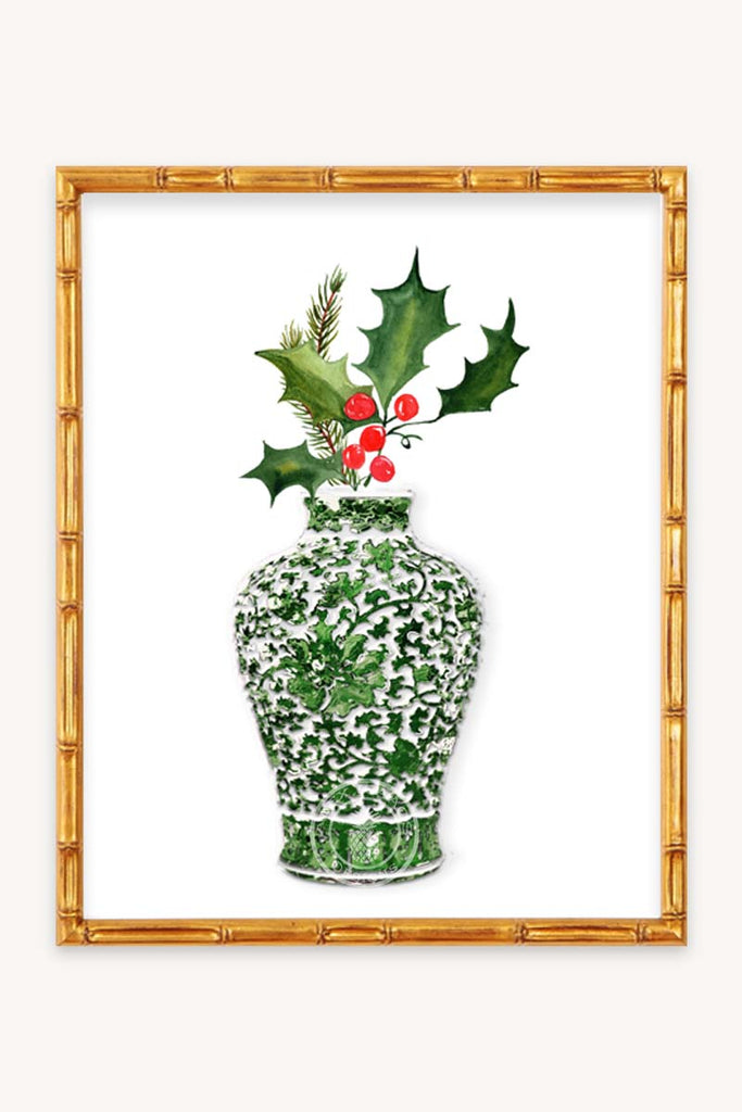 Green Ginger Jar Chinoiserie Christmas Decor