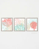 Mint Green and Coral  Wall Art, Set of 3-Prints-Alex Isaacs Designs