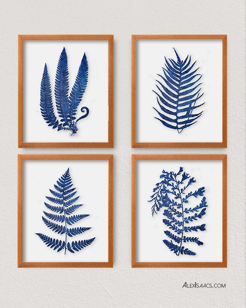 Blue Watercolor Ferns, Set of 4-Alex Isaacs Designs