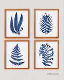 Blue Watercolor Ferns, Set of 4