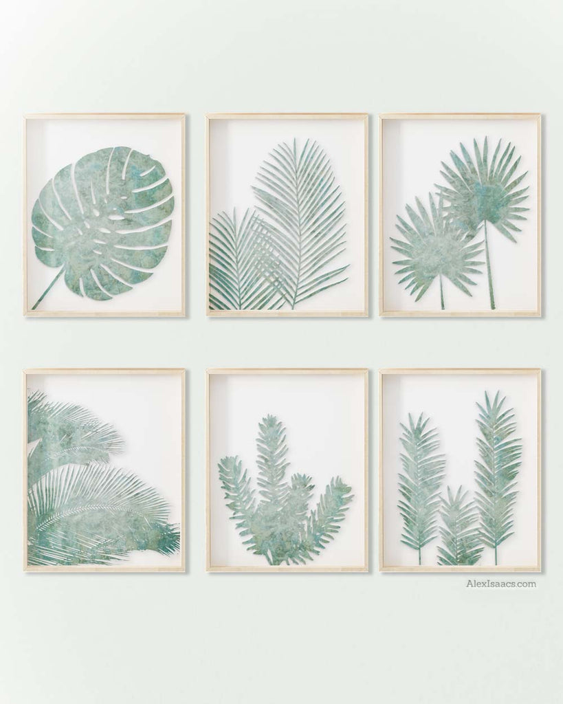 Eucalyptus Green Tropical Palm Leaves, Print Set of 6-Alex Isaacs Designs