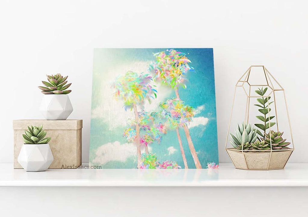small palm tree painting on canvas by alex isaacs designs