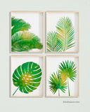 Green Palm Leaf Wall Art, set of 4
