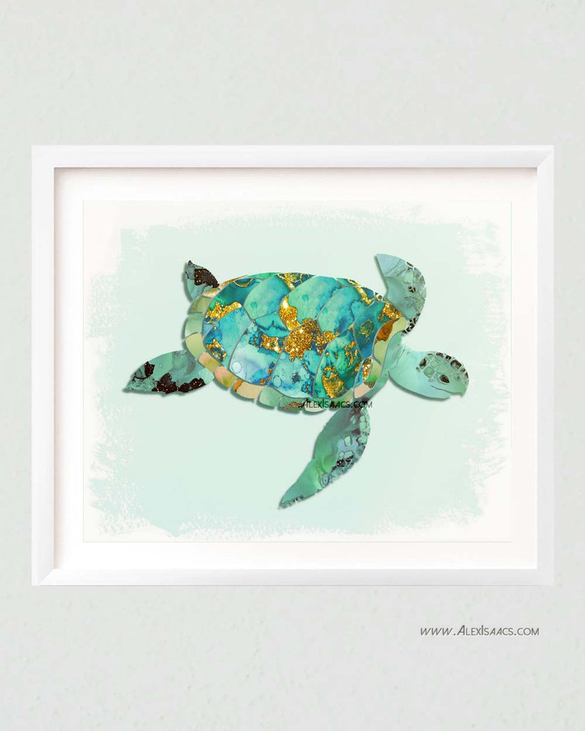 Turquoise Mint Sea Turtle Art-Prints-Alex Isaacs Designs