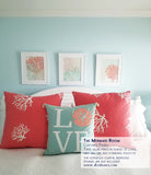 Mint Green and Coral  Wall Art, Set of 3 Alex Isaacs Designs