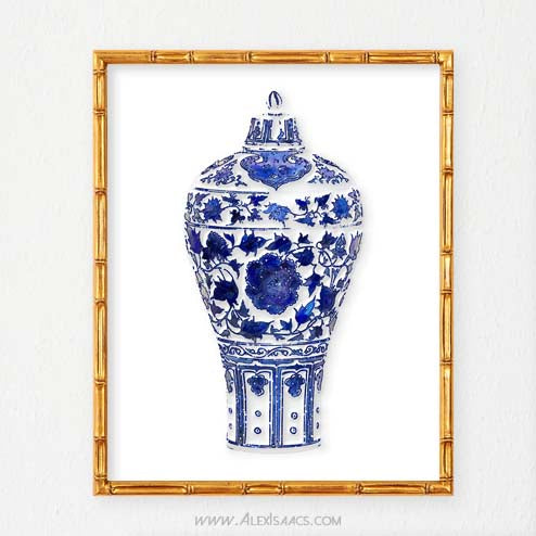 Blue and White Vase Art-Alex Isaacs Designs