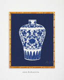 Navy Blue White Chinese Potter Art Print-Alex Isaacs Designs