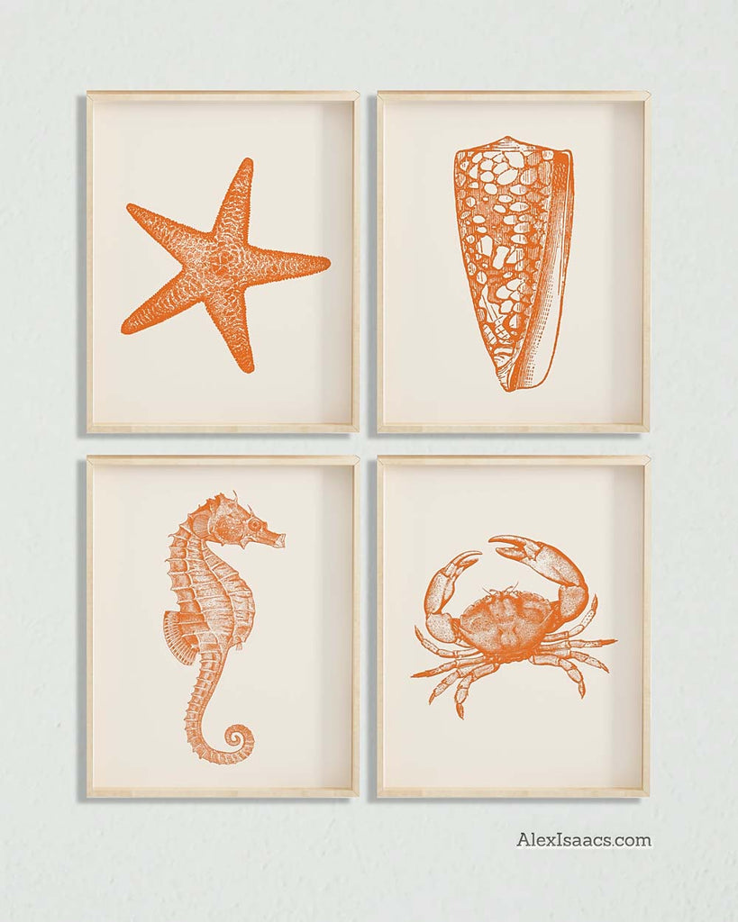 Orange Marine Life Prints, Set of 4-Prints-Alex Isaacs Designs
