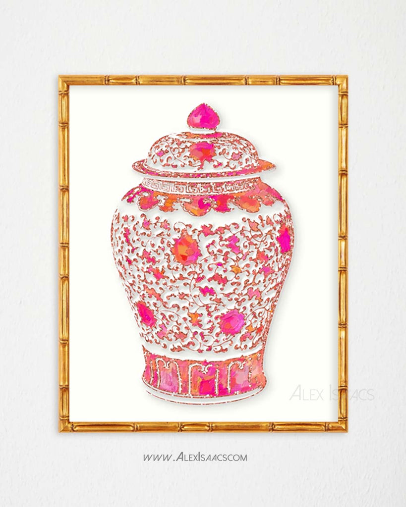 Pink and Coral Ginger Jar Print-Alex Isaacs Designs
