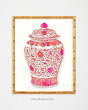Palm Beach Chic Wall Art, Pink Ginger Jar Print