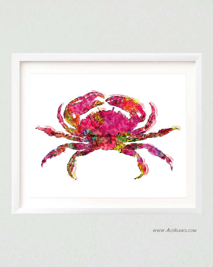 Palm Beach Pink Crab Wall Art Print-Alex Isaacs Designs