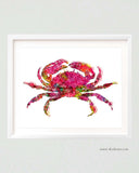 Pink Crab Watercolor