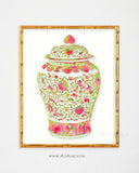 Pink and Green Chinoiserie Ginger Jar Print-Alex Isaacs Designs