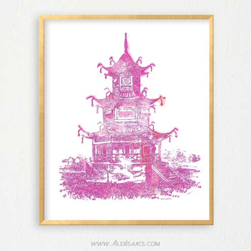 Pink Pagoda Wall Art, Chinoiserie Chic-Alex Isaacs Designs