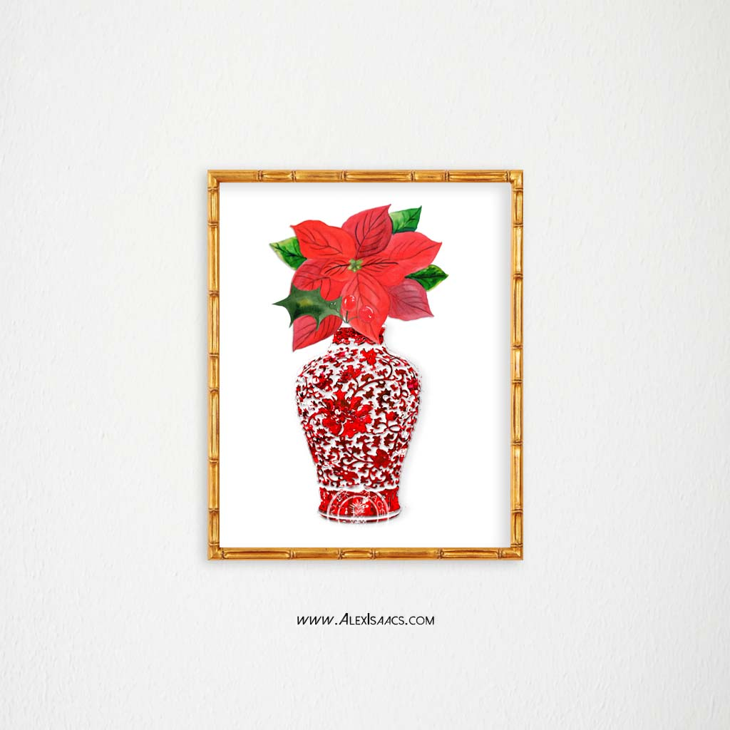 Red Christmas Ginger Jar Print