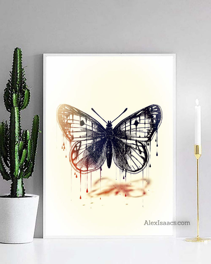 Surrealist Black Monarch Butterfly Wall Art by Alex Isaacs