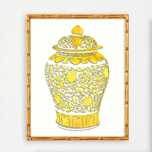 Ginger Jar Chinoiserie Art Print No1-Prints-Alex Isaacs Designs