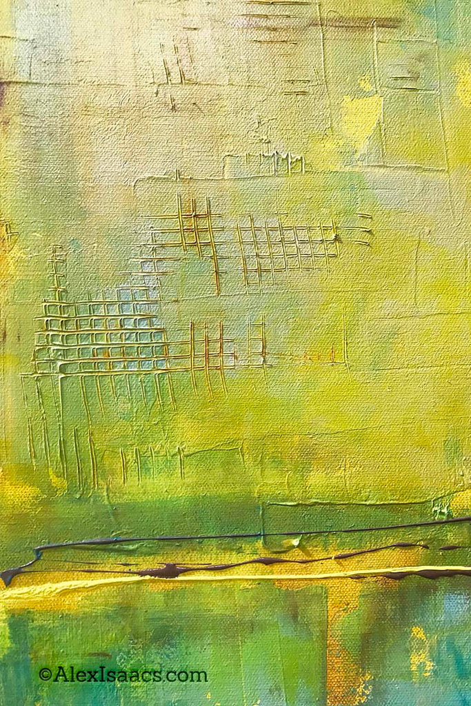 Yellow Green Textured acrylic painting Alex Isaacs