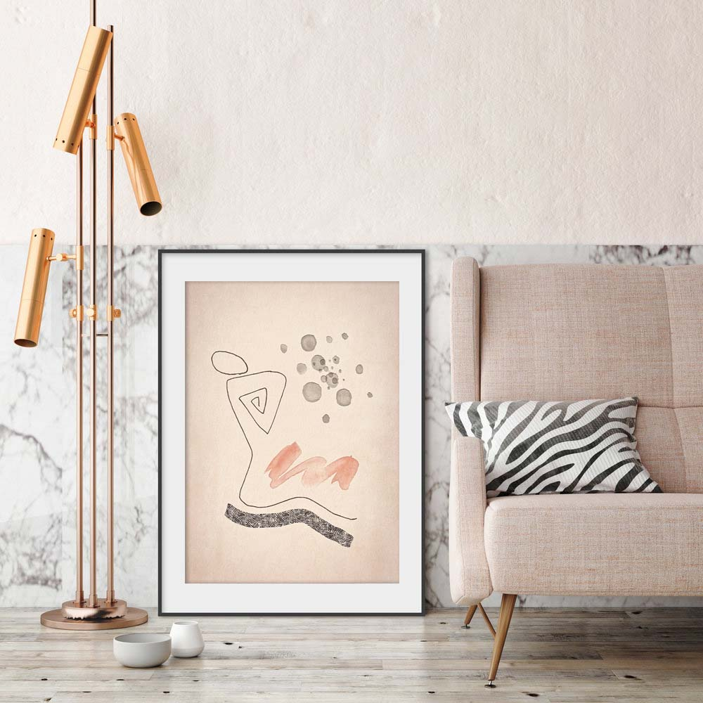 Blush Pink Line Figure Drawing Framed Preview
