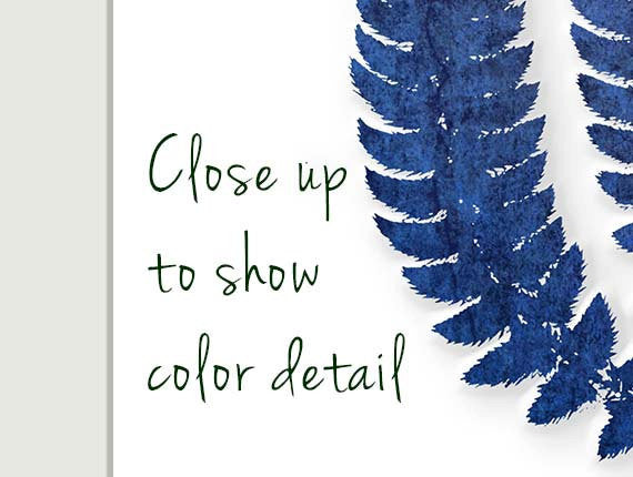 Close-up of blue Watercolor Ferns, Set of 4-Alex Isaacs Designs