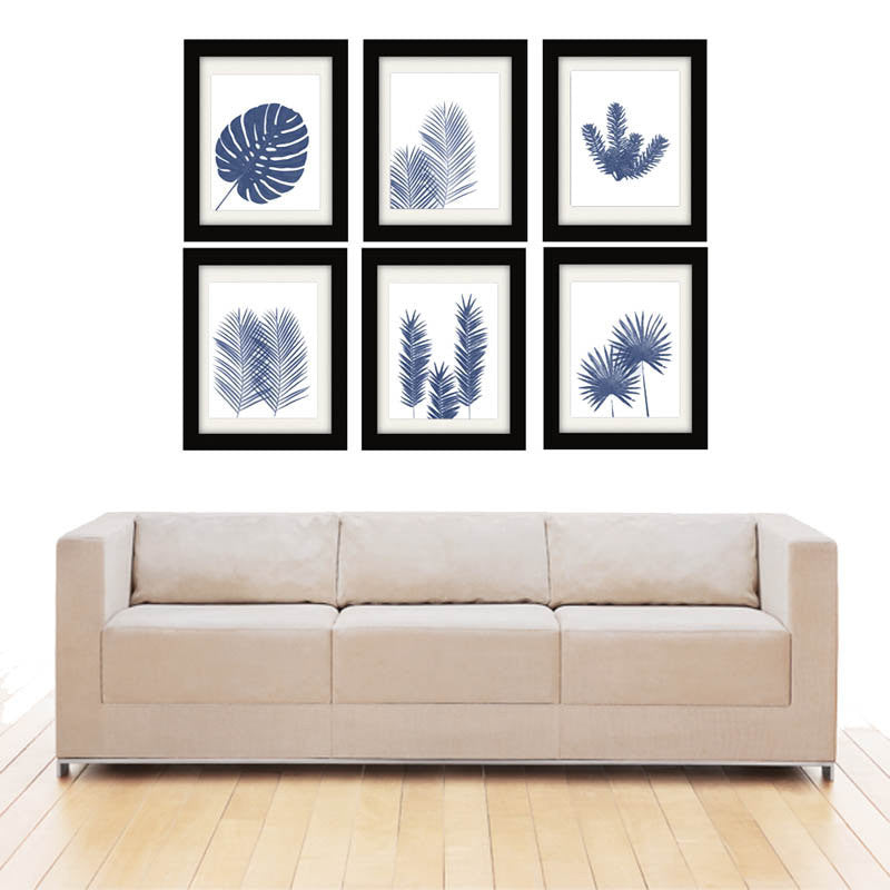 Blue Palm Frond Prints, Set of 6-Alex Isaacs Designs