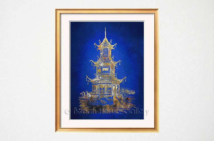 Blue Pagoda Art Print-Alex Isaacs Designs