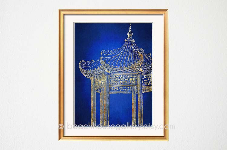 Pagoda Art Print, Blue Wall Art, Blue Gold Decor, Chinoiserie Wall Art, Blue White Art, Palm Beach Chic, Asian Temple Architechture-Alex Isaacs Designs