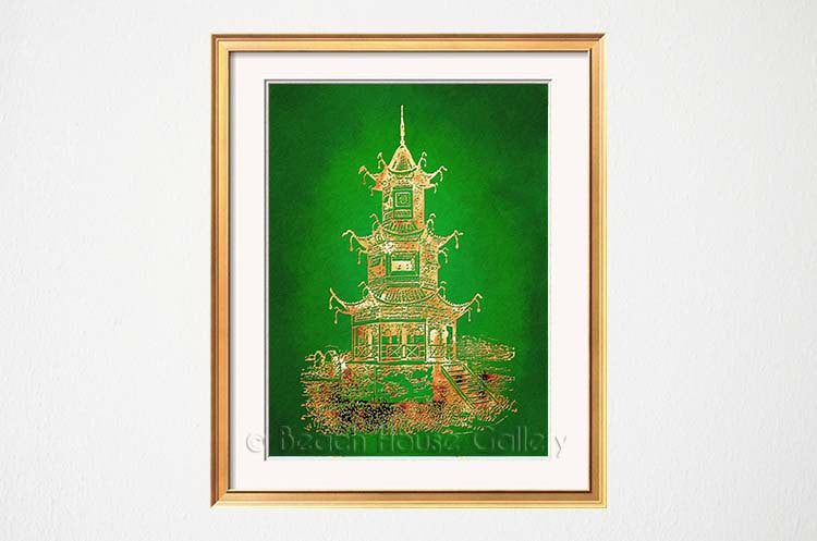 Green Gold Pagoda Print-Alex Isaacs Designs