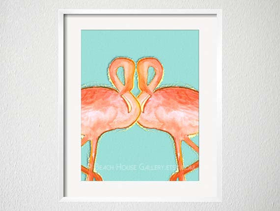 Flamingo Print, Summer Art, Tropical Decor, Beach House Gallery, Coral Teal Art Palm Beach Style Chinoiserie Chic, Flamingo Illustration Art-Alex Isaacs Designs