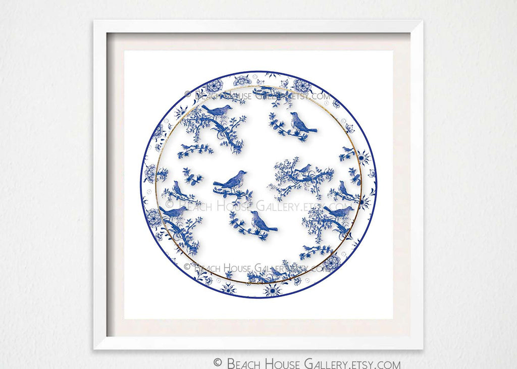 Chinoiserie Bird Motif Porcelain Plate Wall Print-Alex Isaacs Designs