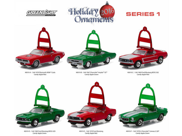 Greenlight Holiday Ornaments Series 1, 6pc Diecast Car Set 1/64 Diecast Model Cars by Greenlight