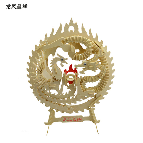 BOHS Educational Toys Dragon and Phoenix  Wooden  Miniature Model Assembling  DIY 3d Puzzle