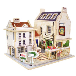 British Bar American Gas Station Wood Building Model Diy 3D Puzzle Toys