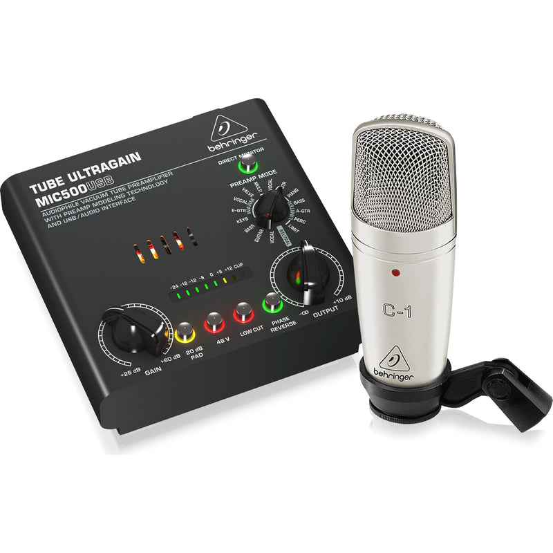 Behringer Voice Studio Recording Bundle with Studio Mic, Tube Preamp and USB Interface