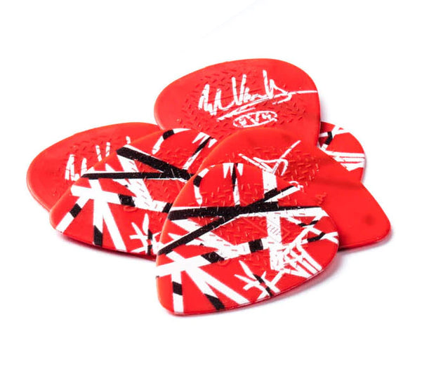 Dunlop EVH Eddie Van Halen Frankenstein Player's Pack - 6 Red, White & Black Striped Guitar Picks