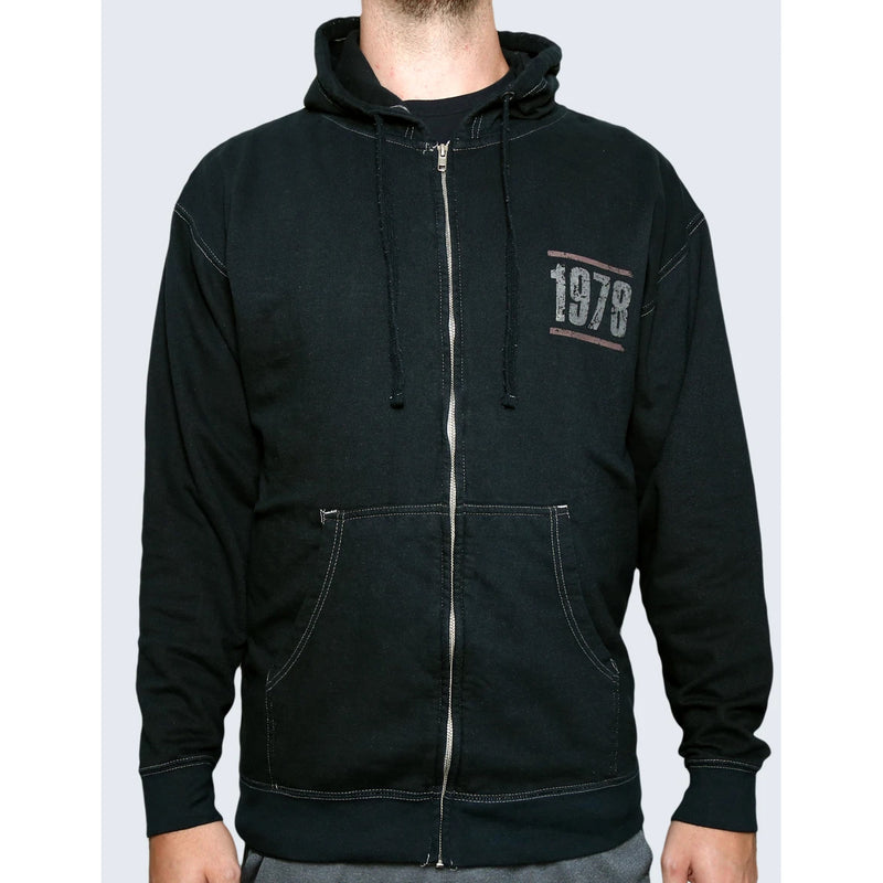 EVH Eddie Van Halen Vintage Wash Black Zip Up Hoodie - Medium