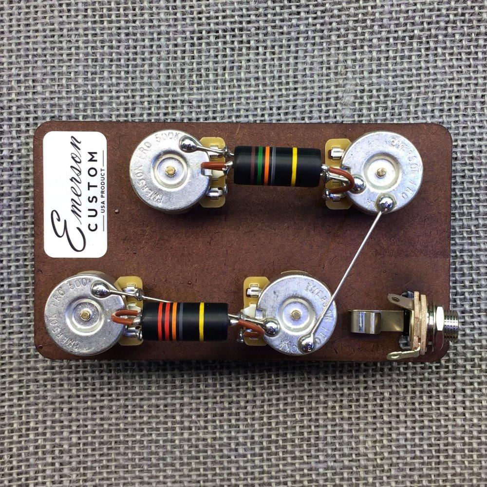 "Emerson Custom LP-BB-Short Les Paul Short Shaft 3/8"" Pre-Wired Kit (500K Pots, 0.022uf & 0.015uf Bumblebee Capacitors)"