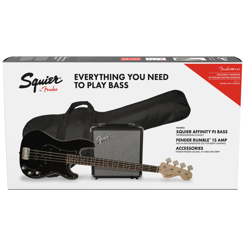 Squier Affinity Precision Bass PJ Pack w/ Fender Rumble 15W 1x8 Bass Combo Amp - Black
